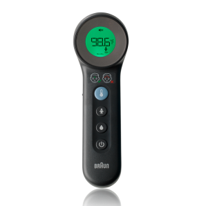 Temperature display and buttons on Braun 3-in-1 no touch thermometer
