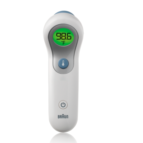 Braun No touch + forehead thermometer front view of display